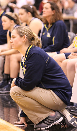 Photo by Chris Martin<br /> Shenandoah Coach Chelsea Kilian looks on during Saturday Regional Semifinal game.