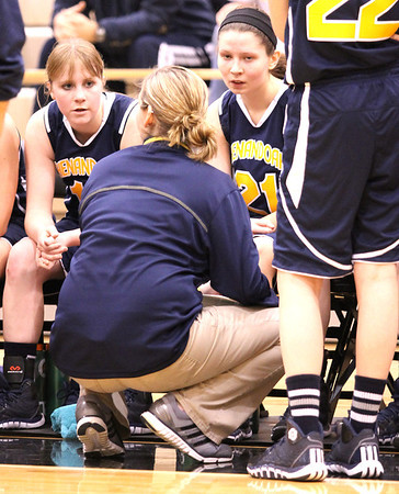 Photo by Chris Martin<br /> Raiders Head Coach Chelsea Kilian draws up a play during a time out in Saturday's Regional Semifinal against Tipton.