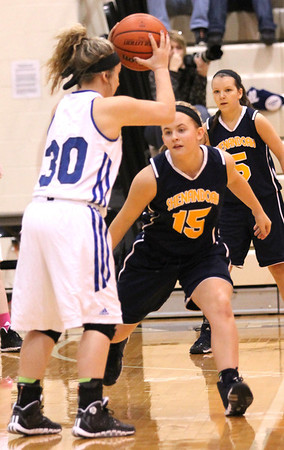 Photo by Chris Martin<br /> Shenandoah's Jaycee Young guards Tipton's Taylor Overdorf in the Regional Semifinal game Saturday.