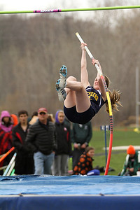 "Ken Kadwell/@KenKadwell - Special to the Sun Shepherd sophomore Sarah Bellinger competes in the pole vault event at the Shepherd invitational Friday, May 2, 2014.  ""I did pretty good I set an all time personal record,"" said Bellinger after clearing eight feet eight inches."
