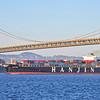 Hanjin Spain sails under the Bay Bridge as it leaves Oakland 2013