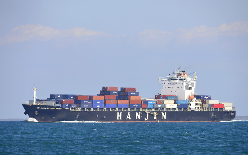 Hanjin Buenos Aires off Caloundra after departing Brisbane 2014