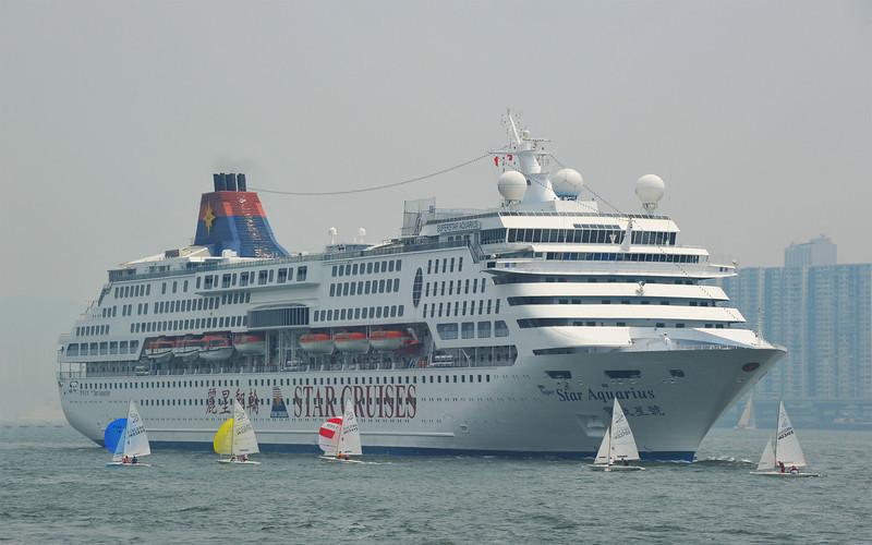 Superstar Aquarius steams into Victoria Harbour, Hong Kong 2011