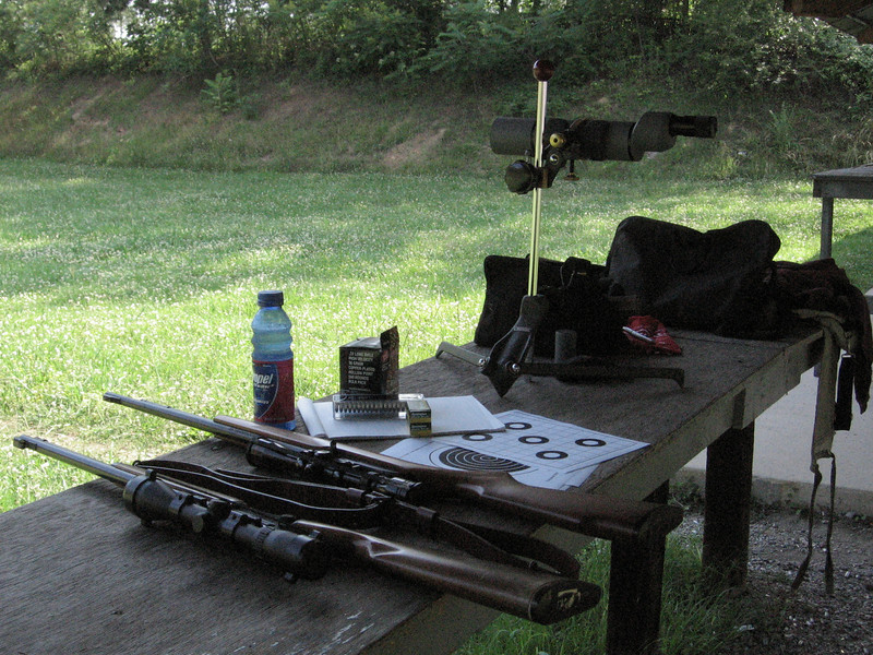 What does it take to get out to the range? Well, all this and target stands, wooden slats, and paper targets. Don't forget your staple gun. The scope is a used Unertl; an angled viewfinder would be more convenient but the price was right. Good for NRA hi-power matches.
