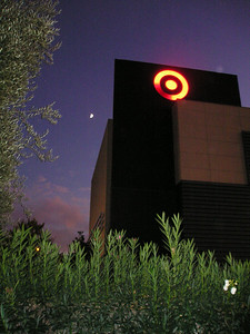 Another sign that, not matter how much you build, you can't shut out mother nature: The moon rises behind the Target bullseye.