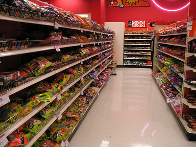 Target aisle 1 of Halloween candy.
