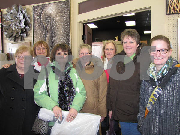 This group of ladies were shopping the Sisters Saturday's bargains throughout downtown Fort Dodge.  They are Pat Scheer, LuAnn Niemand, Lynette Niemand, Diana Brehm, Cleo Abel, Ann Machovec, and Jennie Douglas.