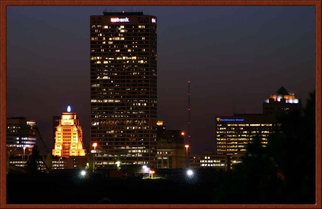 Milwaukee by Night Framed