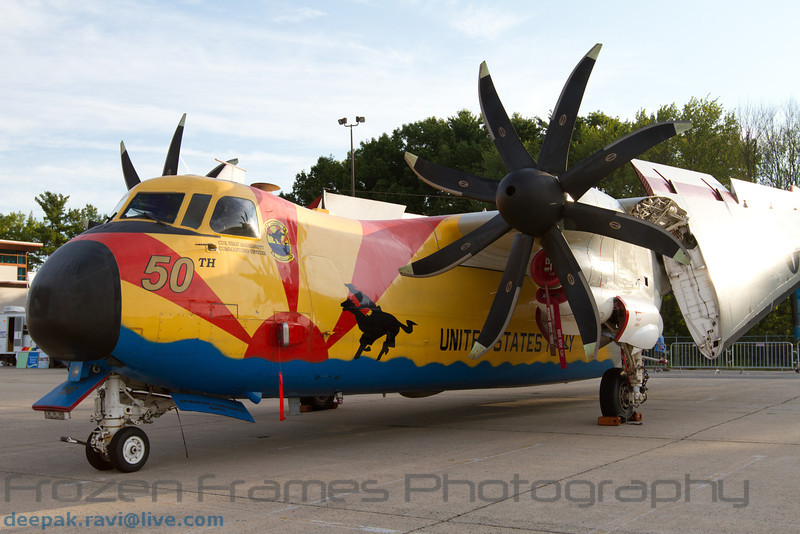 "Grumman C-2A Greyhound wearing a paint scheme commemorating 50 years of service of the Fleet Logistics Support Squadron 40 (VRC-40), also known as the ""Rawhides"""