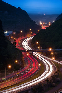 Ngauranga gorge (Centennial Highway) - Light Trails