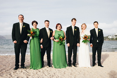 The Happy couple and their respective best men and bridesmaids
