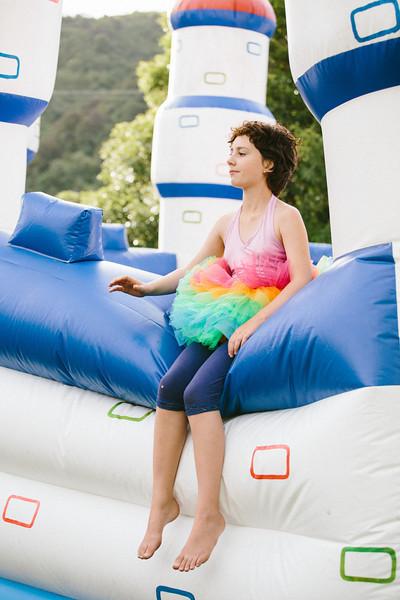 Princess Bubblegum on her bouncy castle