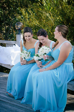 The bridesmaids having a giggle.