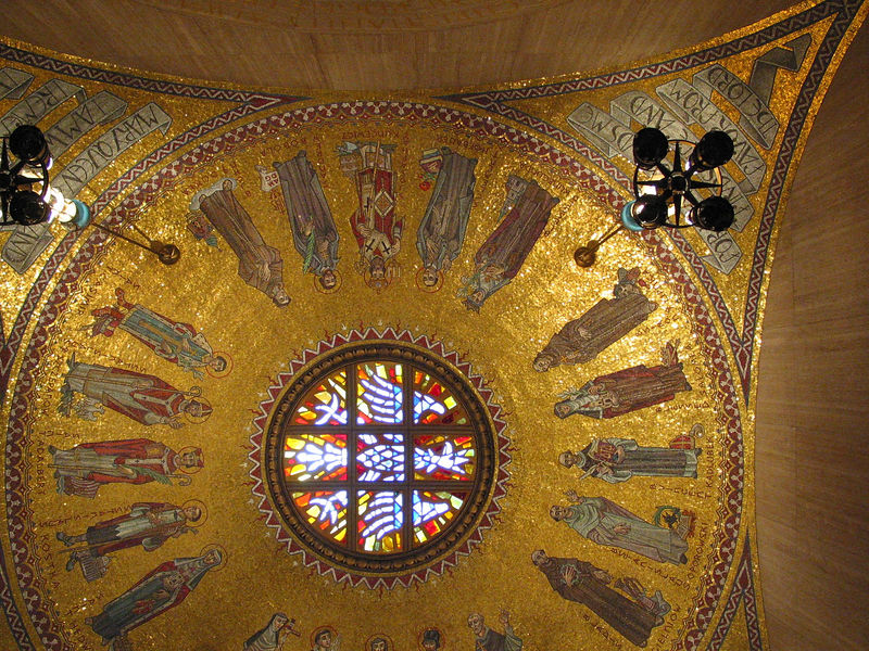 Polish saints on the ceiling of the chapel for Our Lady of Czestochowa. Rumor has it that they will move the lamps to add Pope John Paul II if he is canonized.