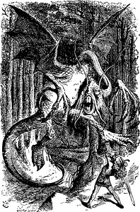 The Jabberwocky - Through the Looking Glass and what Alice Found There original book engraving