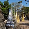 Stupas and Plumeria (frangipani) trees\, Siem Reap
