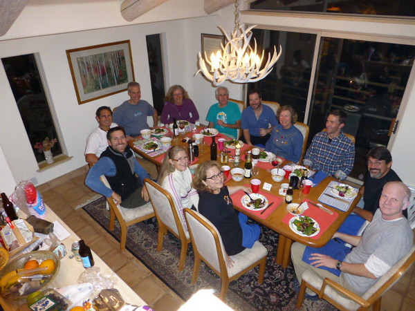 Saturday night dinner at the Gieses's during the Sierra Club orienteering and ski improvement clinic.  Early December.