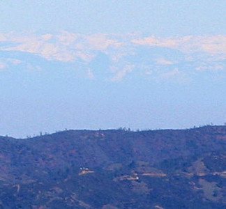 This is a crop from the previous image -- taken from Copernicus Peak on Mt. Hamilton.  It's width takes in the same peaks shown in the original picture of the grain elevator taken by Tony Immoos from Denair.