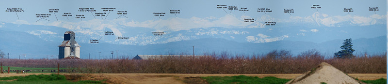 Annotated view of three photos stitched together.  Thanks to Mike C in Las Vegas and Wayne P in Charlotte NC for help identifying the peaks.