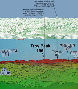 Composite of two computer-generated vies from Mt. Whitney.  Mike C's program generated the top part, the lower from an image posted by Jonathan de Ferranti.  Posted to point out that Troy Peak, NV is NOT visible from Mt. Whitney.