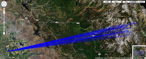 Satellite taken from Google Maps layout showing Tony Immoos' Yosemite panorama taken from near Denair, CA. Google url is: http://tinyurl.com/cpz2cl