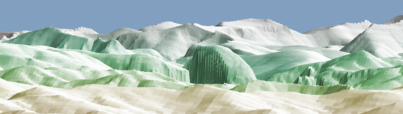 View of Half Dome from Denair in simulated view produced by a computer program written by Mike Cressman