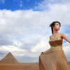 A Lady Posing by the Pyramids in Egypt