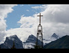 Spire - Our Lady of the Rockies Catholic Chuch, Canmore, Alberta.  That's the Three Sisters peaks in the background.