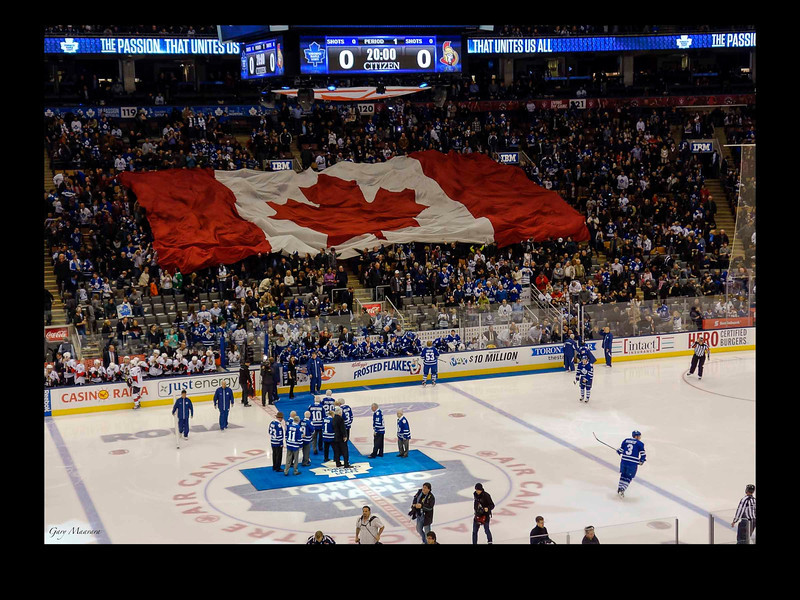 Count the Canadian icons and corporate logos:  the Maple Leaf; Leafs; Eddie Shack; Johnny Bauer; Air Canada; IBM; lotteries and casinos; First Nations people (you will need to think about that one); Frosted Flakes; active and retired hockey players and refs; Dairy Queen; Coke; burgers and banks; Rona; Ford; Reebok; insurance, gas, and highly paid Senators.  Plus those Toronto fans who don't seem to be able to get to their seats on time to actually cheer on the team.  <br /> And let's not forget the press and PR photographers.
