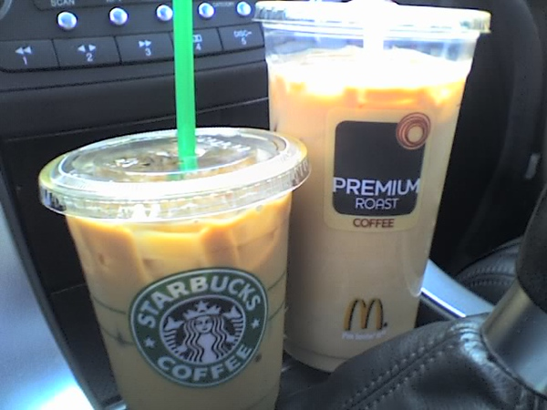 2008.05.03 Sat - Starbucks & McDonald's iced coffee comparo with Mi-Hee Song