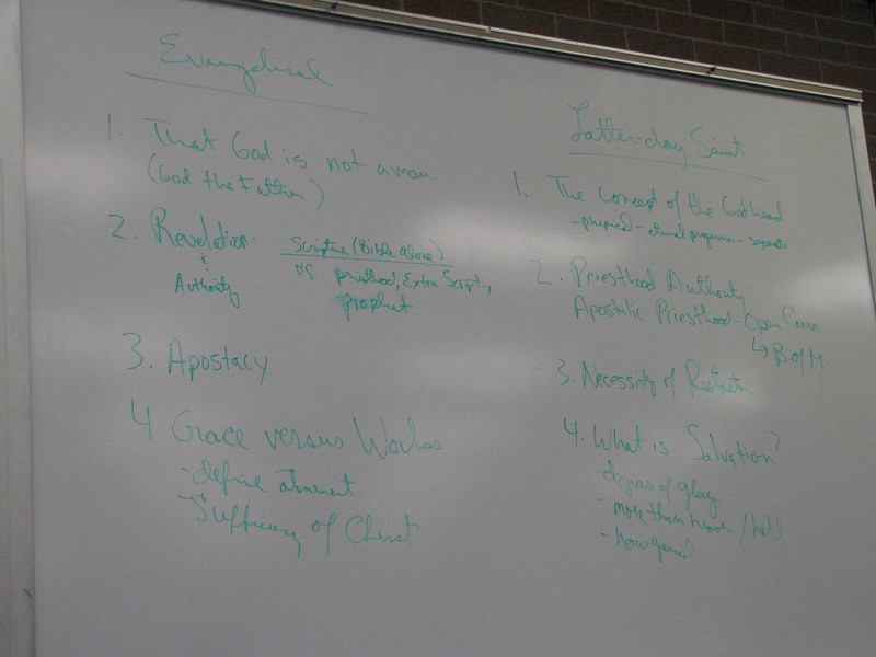 2007 04 10 Tue - BYU Day - Prof Bob Millet & Pastor Greg Johnson's evangelicals and LDS comparison chart