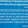 Sign at an Elephant Sanctuary in South India.