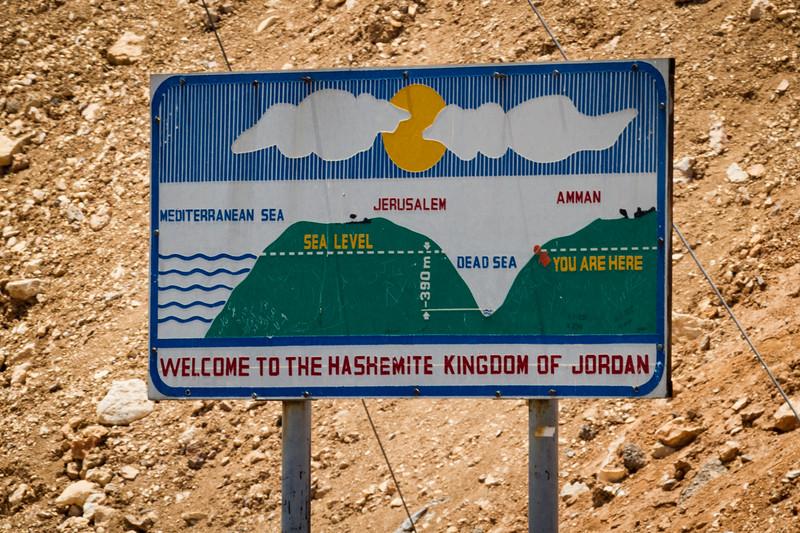 Dead Sea Elevation Sign in Jordan.