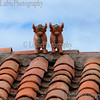 Pukara, Peru. Toritos - the most famous ceramic figurines known also as the Pucará bulls. The two bulls (male and female ?) are placed side by side at the peak of the roof to bring luck and fertility.