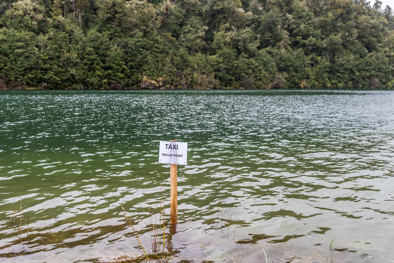 """""""Taxi Pick-Up Point"""". Whanganui Hut, Lake Waikaremoana, Te Urewera National Park."""