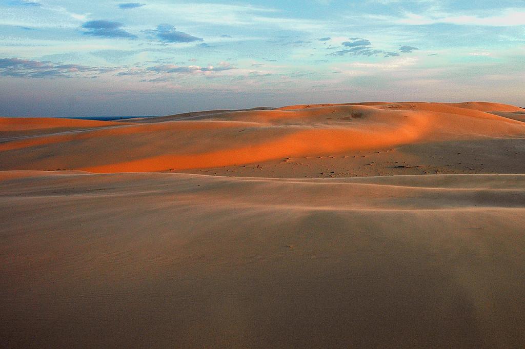 Sunrise at Silver Lake sand dunes