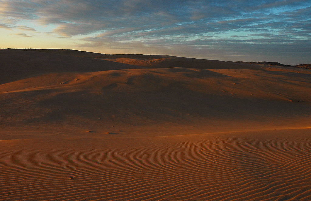 Sunrise at Silver Lake sand dunes