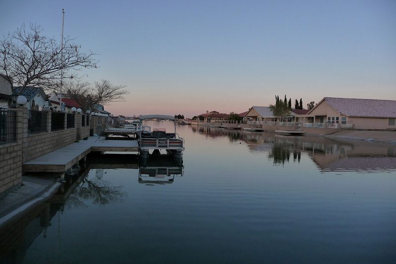The canal at sunset viewed from the homes private boat dock