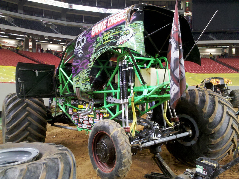Grave Digger comes with a spare tire.<br /> (My new BMW doesn't)