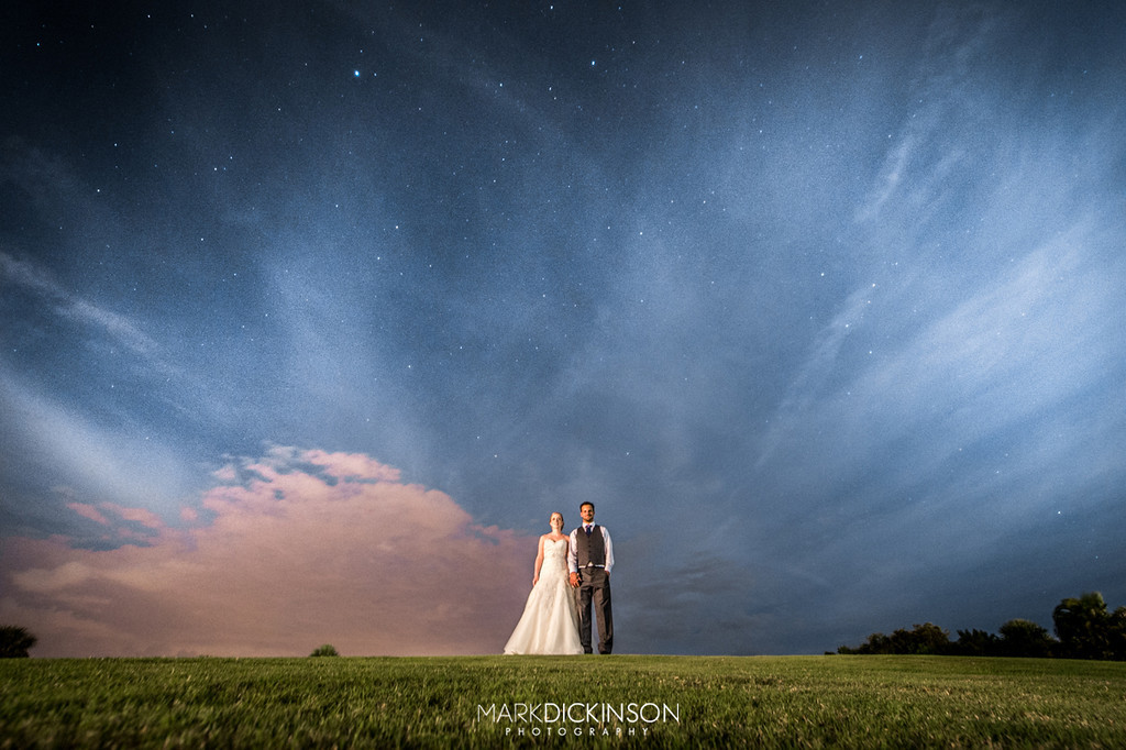 Wedding portrait in the stars above