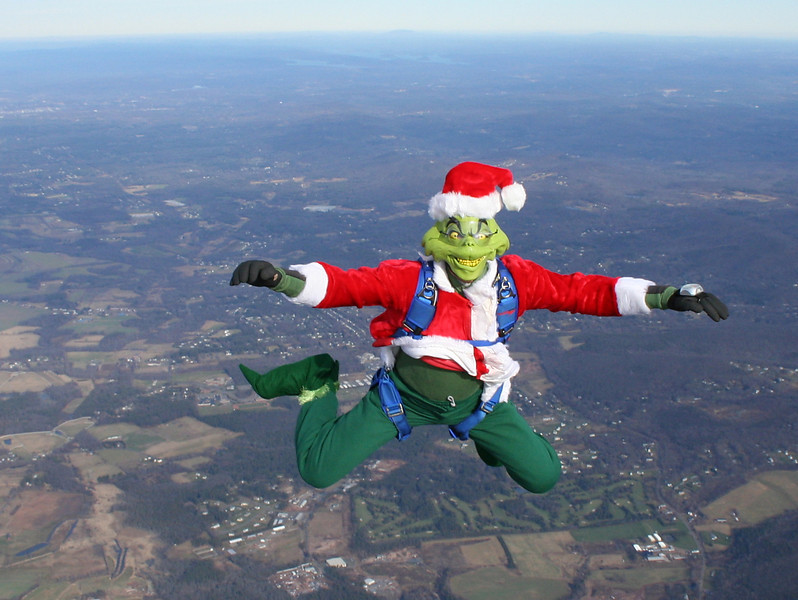 The Grinch knee flying.  Who knew Rob could do that??  Must be the shoes!