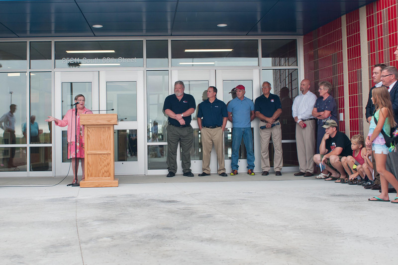 Board President Patty Bentzinger speaks at dedication ceremony