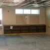 Classroom shelving, wall