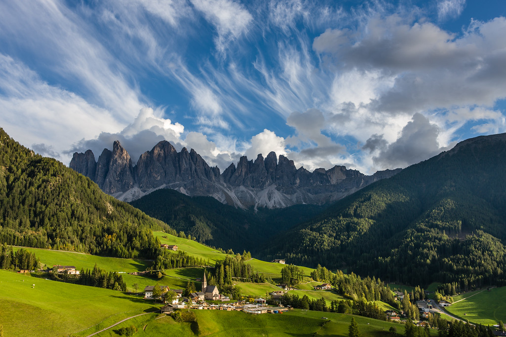 Santa Maddalena with clouds, Dolomites