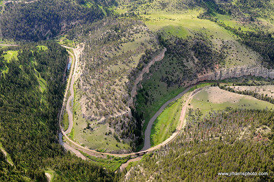 Aerial view of Eagles Tunnel located along the main line between Harlowton and Three Forks Montana along Sixteen Mile Creek. Photography by Jim R. Harris Bozeman Montana aerial photography 2011