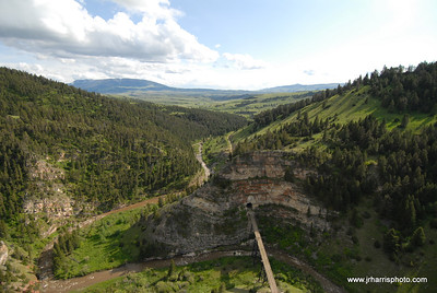 Aerial view of Eagles Tunnel & Bridge located along the main line between Harlowton and Three Forks Montana along Sixteen Mile Creek. Photography by Jim R. Harris Bozeman Montana aerial photography 2011