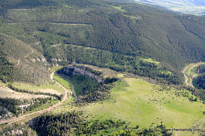 Aerial view of abandoned Milwaukee Road Rail Road located along the main line between Harlowton and Three Forks Montana along Sixteen Mile Creek. Photography by Jim R. Harris Bozeman Montana aerial photography 2011