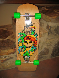 "The Plank! Mellow Green Dragons, SixTracks, Rockets, Khiro wedge in front, 1/2"" riser rear, skull tape job. Nice ride."