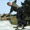 50-50 grind on vert ramp. Potrero del Sol Skatepark. Potrero Ave. and 25th St., Potrero Hill District, San Francisco, California.