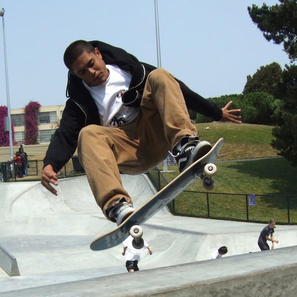 Zen air off vert ramp. Potrero del Sol Skatepark. Potrero Ave. and 25th St., Potrero Hill District, San Francisco, California.